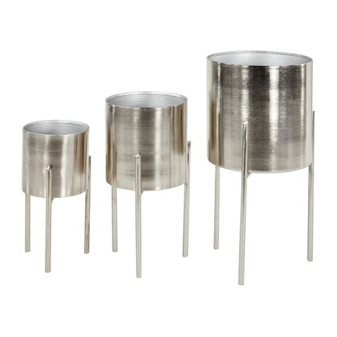 Set of 3 Contemporary Metal Planters in Stands - Olivia & May - image 1 of 3