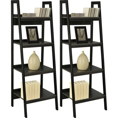 Viewfield 4 Shelf Ladder Bookcase Bundle Black - Room & Joy
