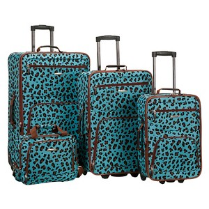 Rockland Jungle 4pc Luggage Set - Blue Leopard, Size: Small