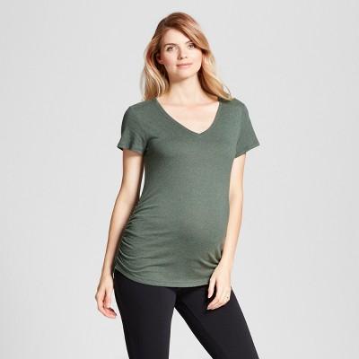 Maternity Shirred V-Neck T-Shirt - Isabel Maternity™ by Ingrid & Isabel® Forest Green Heather L