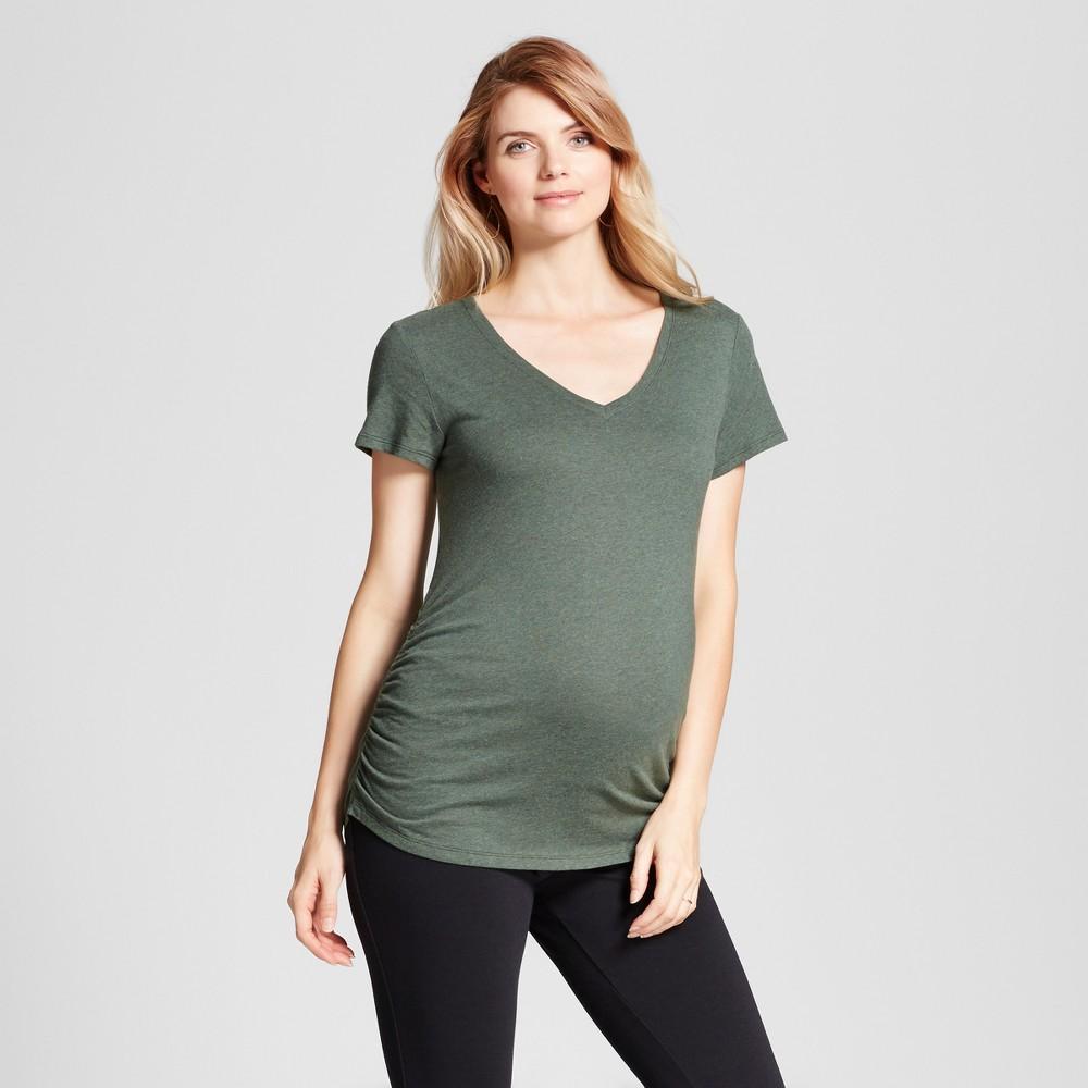 Maternity Shirred V-Neck T-Shirt - Isabel Maternity by Ingrid & Isabel Forest Green Heather L, Women's