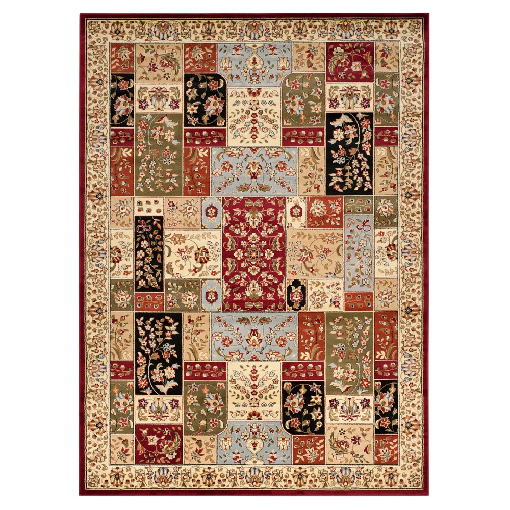 Red Floral Loomed Area Rug 9'X12' - Safavieh, White