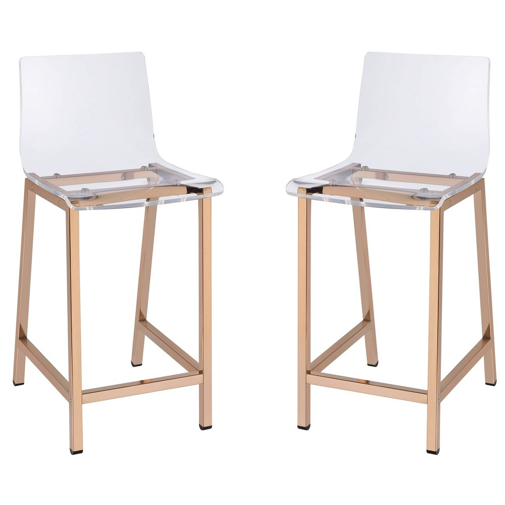 Set of 2 Acrylic Counter Stool Rose Gold - Fox Hill Trading