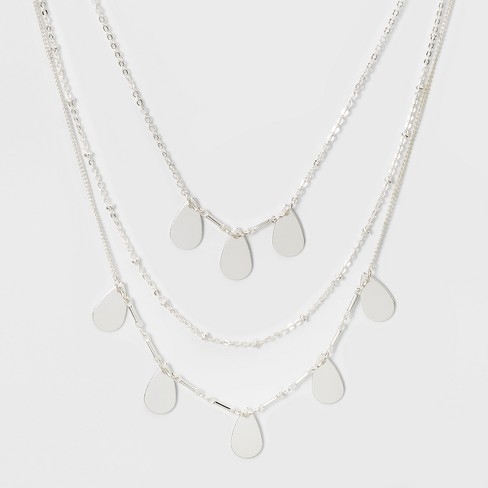 Choker with Tear Drop Stampings - Silver - image 1 of 3