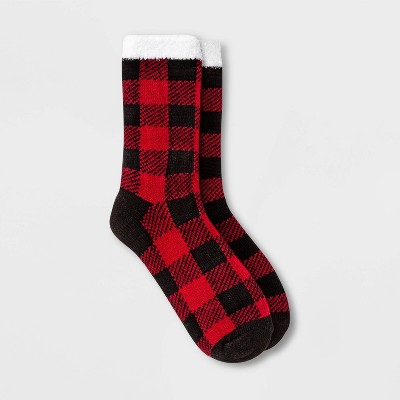Women's Buffalo Check Plaid Double Lined Cozy Crew Socks - A New Day™ Red/Black 4-10