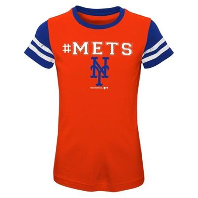 MLB New York Mets Girls' Scoop Neck Yolk T-Shirt
