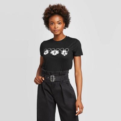 Women's Mickey Faces Short Sleeve Graphic T-Shirt - Modern Lux (Juniors') - Black