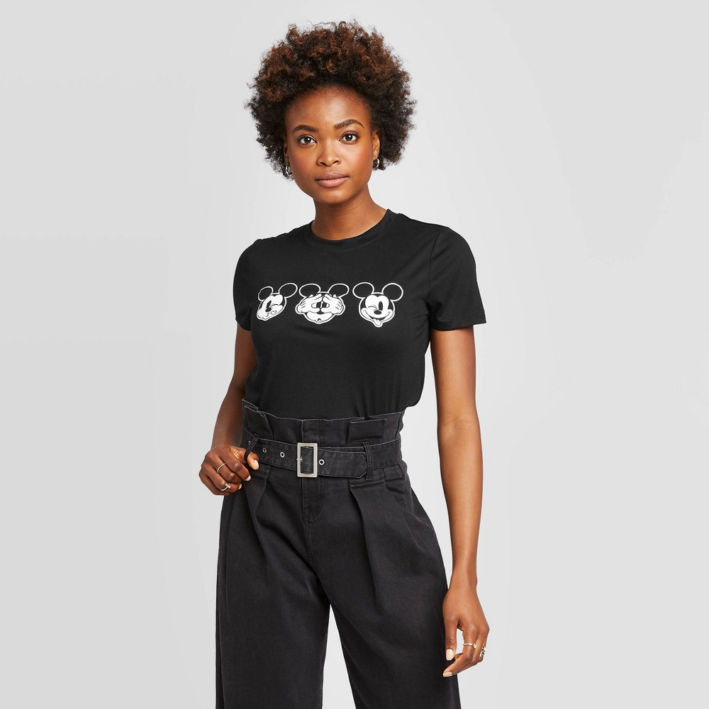 Womens Mickey Faces Short Sleeve Graphic T-Shirt - Modern Lux (Juniors) - Black XS