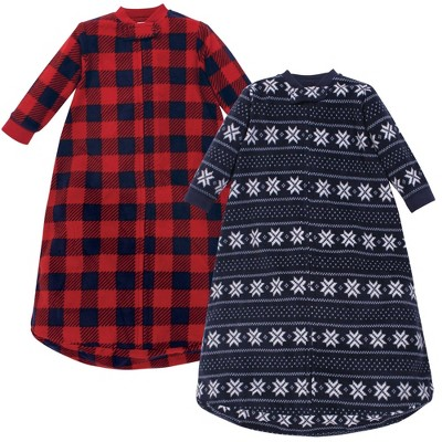 Hudson Baby Unisex Baby Long-Sleeve Fleece Sleeping Bag Sweater - Plaid 0-9M