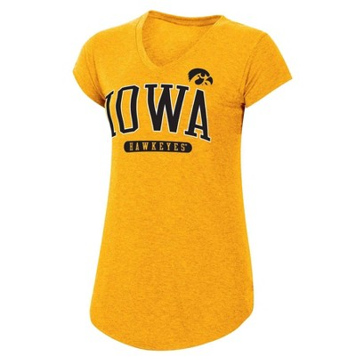 NCAA Iowa Hawkeyes Women's Yellow Short Sleeve V-Neck T-Shirt