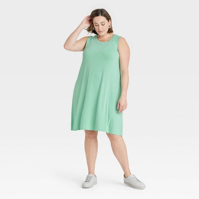 Women's Plus Size Sleeveless Knit Swing Dress - Ava & Viv™