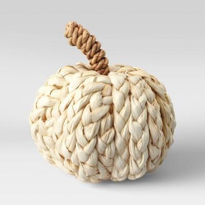 "5"" x 4.7"" Woven Corn Husk Pumpkin Figurine Cream - Threshold™"