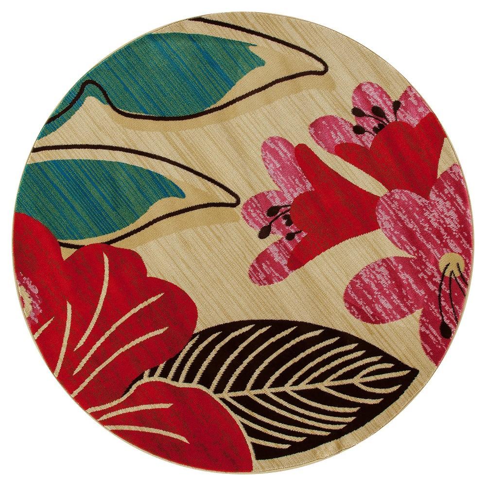 Image of Botanical Woven Round Area Rug - (5') - Art Carpet, Size: 5' ROUND