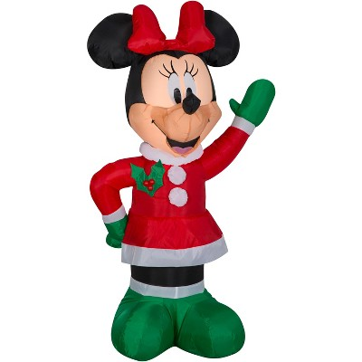 Gemmy Christmas Airblown Inflatable Minnie in Winter Outfit w/Red Bow Disney (DG), 3.5 ft Tall