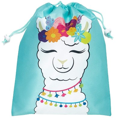 Juvale 12-Pack Drawstring Llama Party Favor Bags for Fiestas and Birthday Parties, 10 x 12 Inches