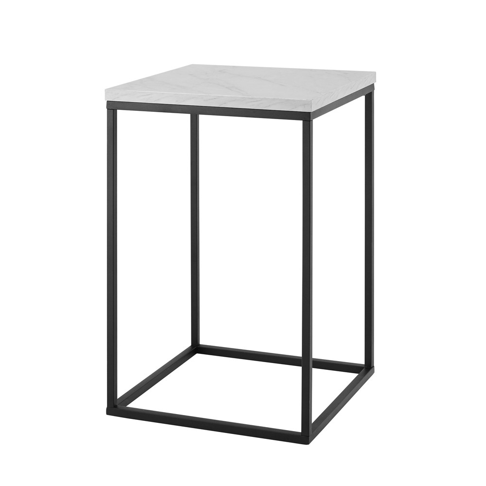 """Image of """"16"""""""" Open Box Side Table White Faux Marble/ Black - Saracina Home, White Faux Marble / Black"""""""