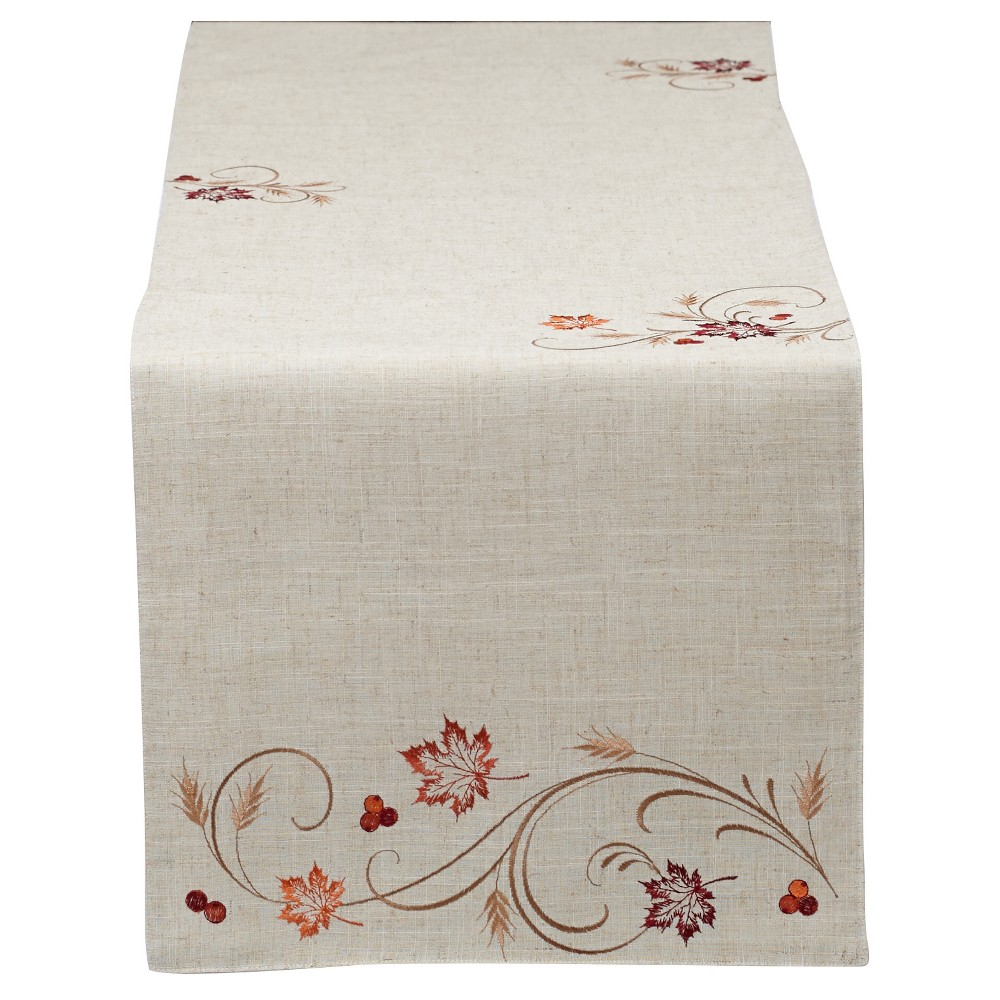 Design Imports 70x14 Autumn Table Runner Beige