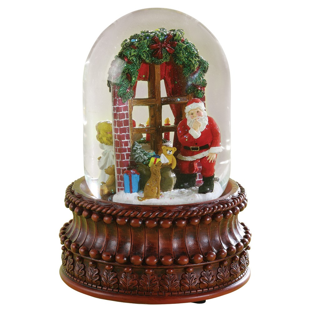Santa Looking Through Window Musical Snowglobe, Multi-Colored