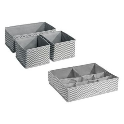 InterDesign Chevron Fabric 4-Piece Nursery Drawer or Changing Table Organizer (Multipack)- Gray/Cream