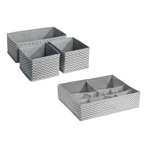 Interdesign Chevron Fabric 4 Piece Nursery Drawer Or Changing Table Organizer Multipack Gray Cream