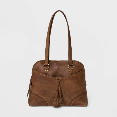 Bolo Zip Closure Leather Satchel Handbag - Brown