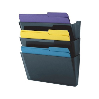 MyOfficeInnovations 3-Pocket Plastic Wall File Smoke Blue (10681) 730523