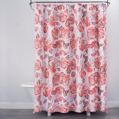 Rose Print Shower Curtain Disco Brown - Opalhouse™