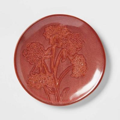 """6"""" Stoneware Floral Dessert Plate Brown - Threshold™"""