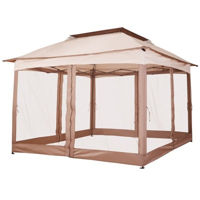 Outsunny 11' x 11' Pop Up Gazebo Canopy with 2-Tier Soft Top, Removable Zipper Netting, Event Tent with Large Space Shade, Portable Travel Storage Bag