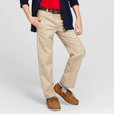 610242089 Boys Reinforced Knee Flat Front Uniform Chino Pants - Cat & Jack™ Khaki 8  Husky