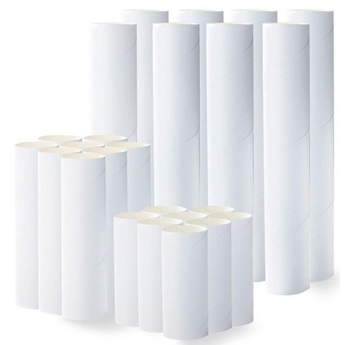"""Genie Crafts 24 Pack White Cardboard Paper Tubes Roll for Crafts (3 Sizes, 4"""", 6"""", 10"""") - image 1 of 2"""
