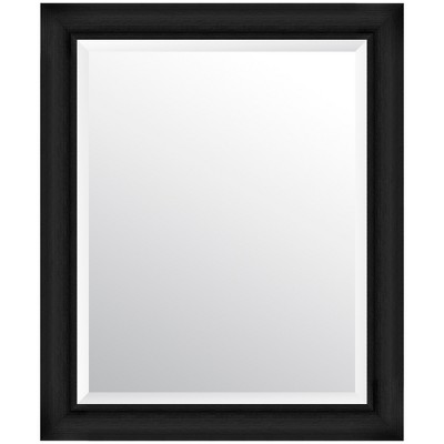 "24""x30"" Scoop Framed Beveled Wall Accent Mirror Black - Gallery Solutions"