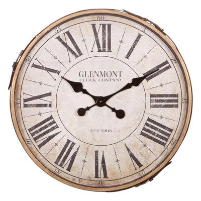 """22"""" Glenmont Roman Numerical Wall Clock with Leather Strap and Buckle Bronze/Off White/Black - Patton Wall Decor"""