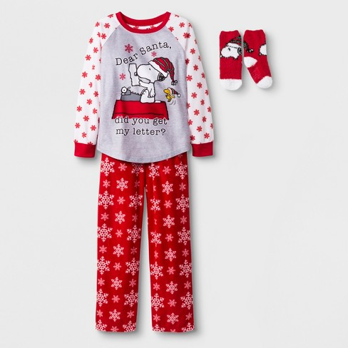 Girls' Peanuts 2pc Pajama Set with Sock - Red - image 1 of 1