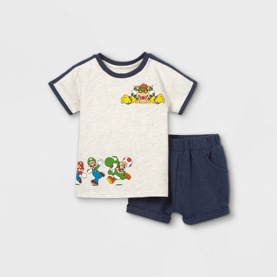Toddler Boys' 2pc Mario Short Sleeve Top and Bottom Set - Navy