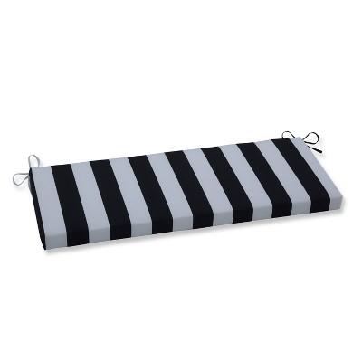 Cabana Stripe Outdoor Bench Cushion Black - Pillow Perfect