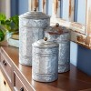 3pc Decorative Galvanized Metal Canister Set Silver - Olivia & May - image 3 of 4