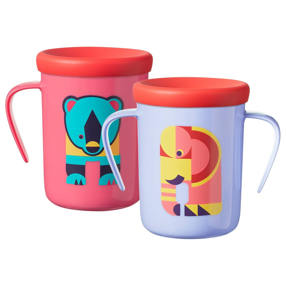 Image of Tommee Tippee 2pk 360 Trainer Cup - Elephant/Bear