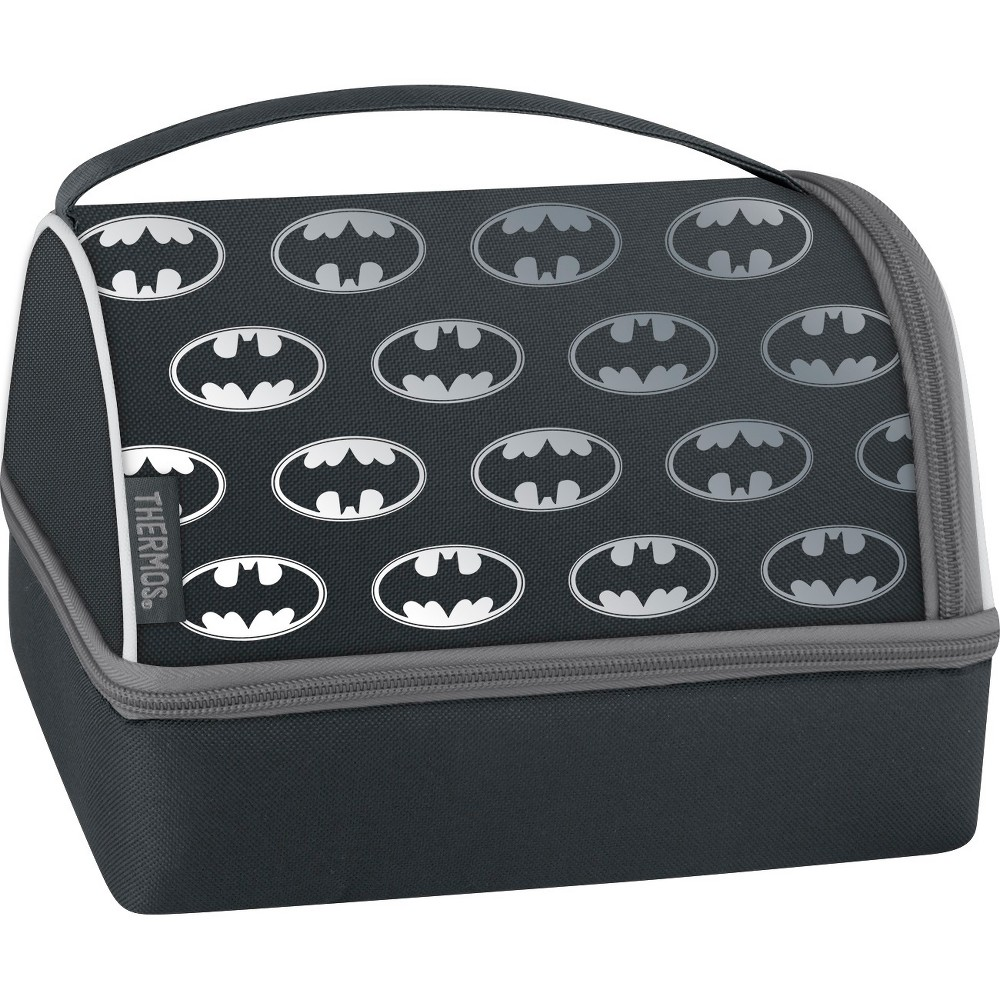 Thermos Batman Lunch Box Set with Pack In - Black This soft lunch bag with pack-in combo from Genuine Thermos Brand is a great choice for kids to take their lunch to school. Fill the box with your little one's favorites and store in the bottom portion of the cooler. The top compartment is ideal for other favorite food items or a beverage bottle. Includes a set of utensils. Color: Black. Pattern: Movie logo.