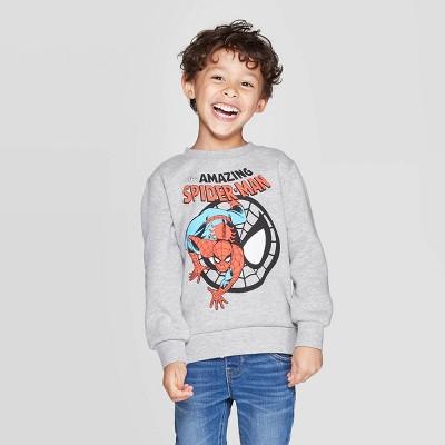 Toddler Boys' Spider-Man Crew Fleece Sweatshirt - Gray 12M