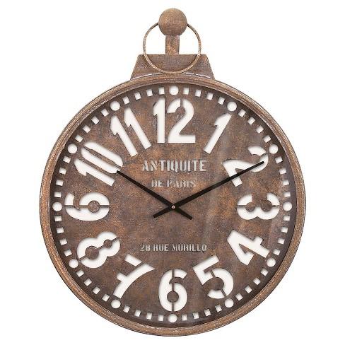 Pocket Watch Wall Clock Rusty Finish - Aurora® - image 1 of 2