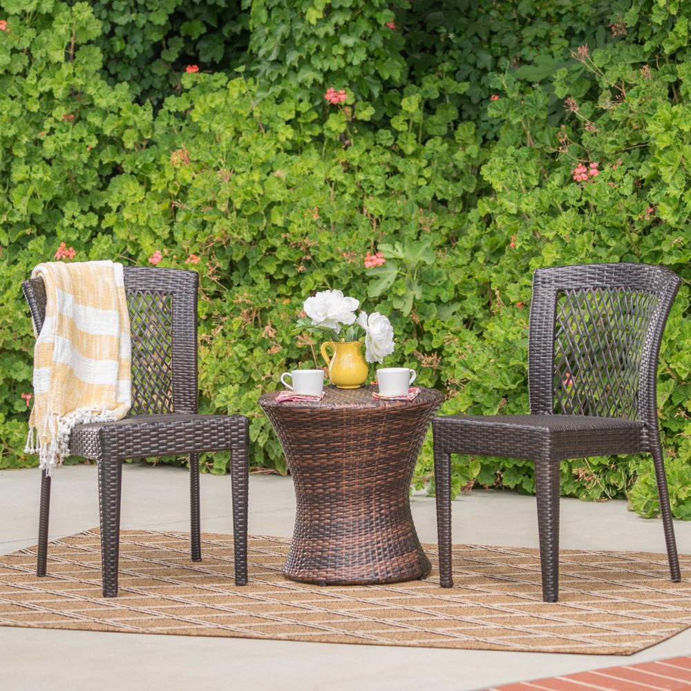 Catskills 3pc Wicker Chat Set - Multibrown - Christopher Knight Home, Brown