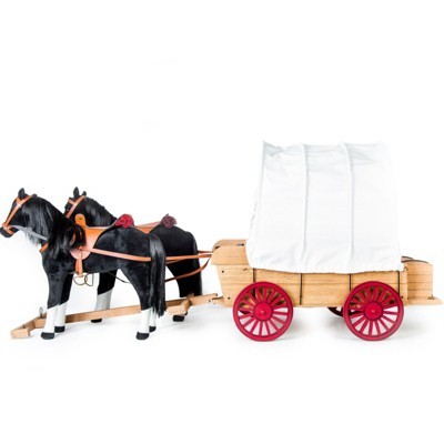 The Queen's Treasures 18 In Doll Covered Prairie Wagon/Sleigh and 2 Horses