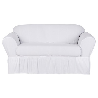 White Cotton Duck Loveseat Slipcover (2 Piece)- Simply Shabby Chic™