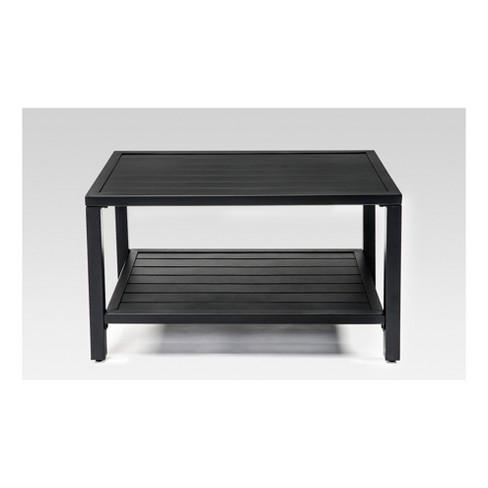 Steel Slat Patio Coffee Table - Black - Threshold™ - image 1 of 3