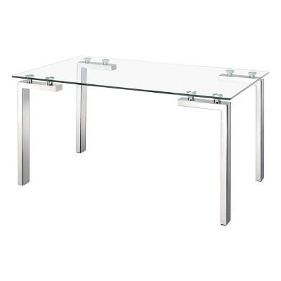 "59"" Modern Tube Leg Rectangular Dining Table Tempered Glass and Stainless Steel - ZM Home"