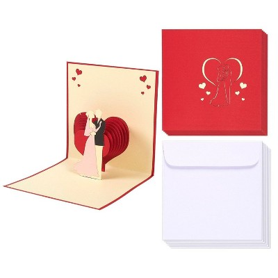 Best Paper Greetings 6-Pack Red 3D Bride & Groom Heart Wedding Greeting Congratulations Cards with Envelopes 4.7x4.7 in