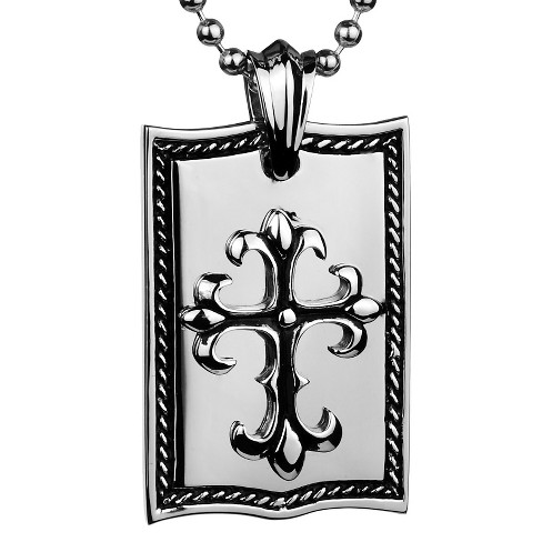 Crucible Men's Stainless Steel High Polish Cross Dog Tag Necklace - image 1 of 3