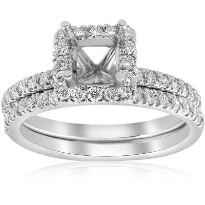 Pompeii3 5/8ct Princess Cut Diamond Halo Engagement Ring Setting Matching Band White Gold