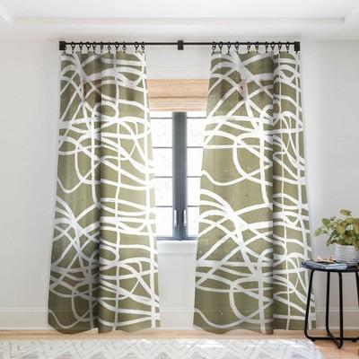 Ninola Design Japandi Minimal Marker Beige Single Panel Sheer Window Curtain - Deny Designs